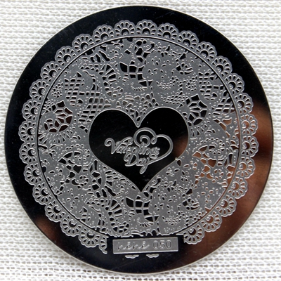0050 Round Nail Art Stamp Stamping Plates Template Love Heart Flower Pavilion Nail Art Stamp Template Image Plate hehe050 in Nail Art Templates from Beauty Health