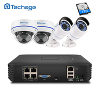 Techage 4CH 1080P POE NVR Kit CCTV Security System 2.0MP Vandalproof Dome Indoor Outdoor IP Camera P2P Video Surveillance System
