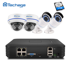 Techage 4CH 1080P POE NVR Kit CCTV System 2MP 1080P Dome Indoor Outdoor POE IP Camera P2P Video Security Surveillance System Set