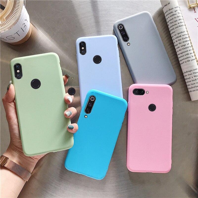 Originale di colore della caramella del silicone cassa del telefono di protezione per xiaomi mi a3 a2 6x a2 lite a2lite trasparente di tpu sottile indietro copertura coque funda