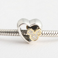 925 Sterling Silver Beads Charms Double Sided Mickey Mouse Crystal Bead Fit Original Pandora Charms Bracelet