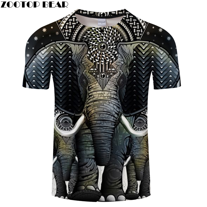 Elephant 3D   t     shirt   Men tshirt Summer   T  -  Shirt   Casual Tees Short Sleeve Tops Male Camiseta Print Vintage Drop Ship ZOOTOP BEAR