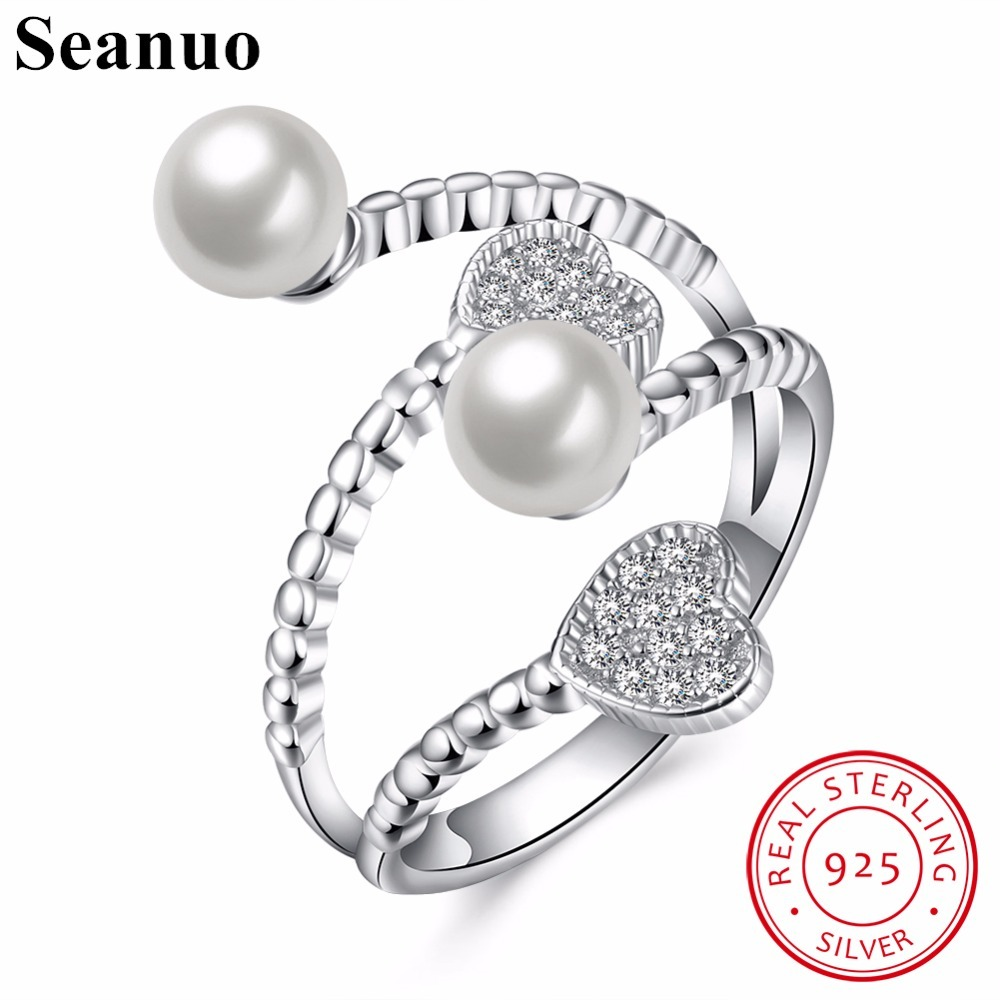 Seanuo Open Size 100% 925 Sterling Silver Imitation Pearl Finger Rings Women High Quality Clear CZ Heart Shape Lady Party Ring