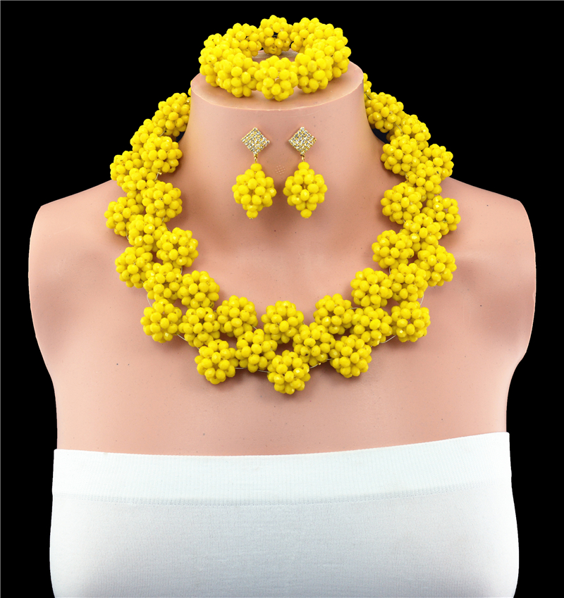 Luxury Yellow African Beaded Jewelry Set Nigerian Wedding Crystal Beads Necklace Set Free Shpping цена и фото