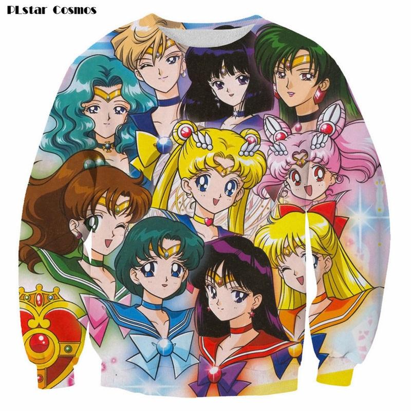 2018 Fashion Cartoon Sweatshirt 3D Sailor Moon Character