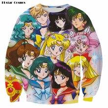 Raisevern 2017 Cartoon Sweatshirt 3D Sailor Moon Character HD Print Hoodie Men Women Unisex 3d Pullovers Casual Outerwear Top