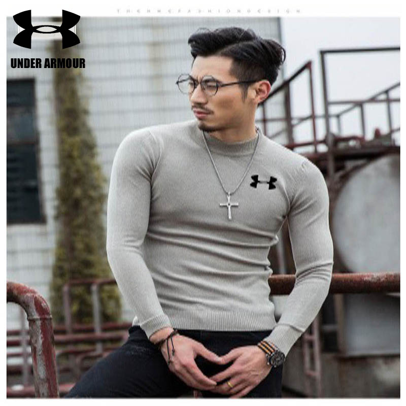Under Armour Sweater Men Brand fashion Pullover Sweater Male O-Neck Slim Fit Knitting Men Sweater running Hiking shirts 7 colors cowl neck slit ribbed sweater