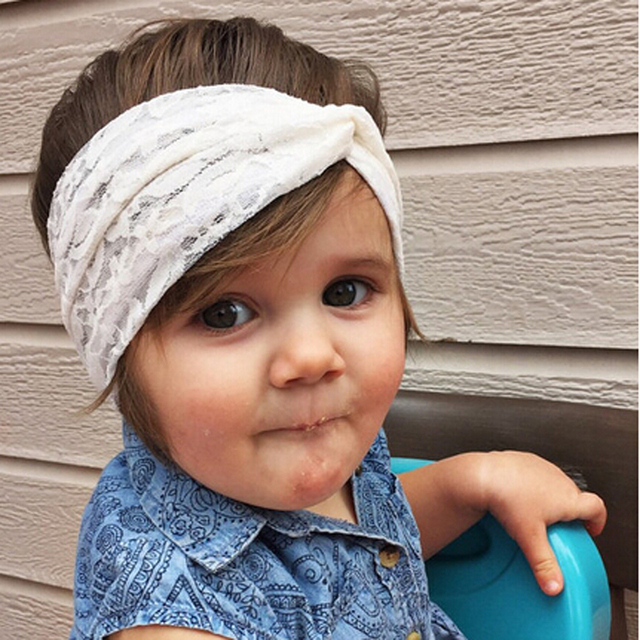 New Lace kids Turban Headband for kids Girl Hair Accessories Fashion girl Lace  Headband Girl s Stretch Lace Bow Headwrap10pcs d15ef62801f