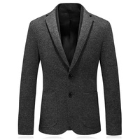 MarKyi fashion knitted wool men's blazers and suit jackets good quality winter mens slim fit blazer