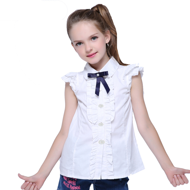 16312bc2e2750 Printemps été fille à manches courtes chemise blanche étudiant slim blanc  taille blouse pour filles vêtements