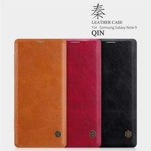 Do Samsung Galaxy Note 9 etui z klapką nillkin qin Series Vintage skórzana klapka portfel przy telefonie torby do Samsung Note9 Case