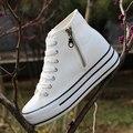 Мода Женская Сторона Zip Высокой Платформы Белые Туфли 2016 Осень Открытый Дышащий Толстый Каблук Холст Обувь Женская Повседневная Тренеры
