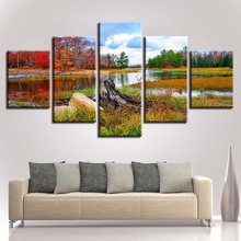 Canvas Poster Art Printing 5 Pieces River Red And Green Forest Landscape Modular Paintings Framed Bedroom Wall Decor HD Pictures