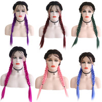 New Upgrade 26 inches Natural Synthetic Baby Hair Braided Double Lace Front Wig Long Black Ombre Black Wigs Gift Dropshipping