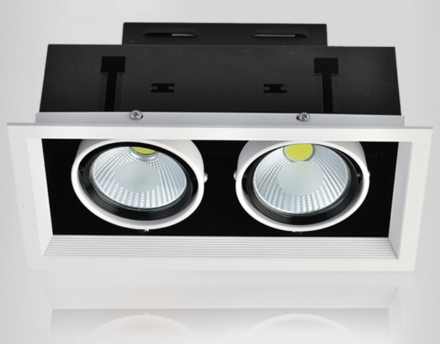 Free Shipping 30W / 20W COB LED Grille light Warm White/White/Cold White LED Recessed Down lamp CE/ROHS Certificate 85-265V free shipping ip20 2 13w cut out 262 124mm 40degree citizen cob led grille down light