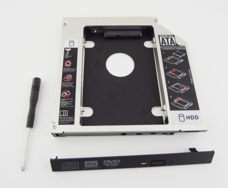 WZSM New 12.7mm 2nd SATA HDD SSD Hard Disk Drive Caddy for Asus X52F X53 X53SD X53T X54 Removable Faceplate image