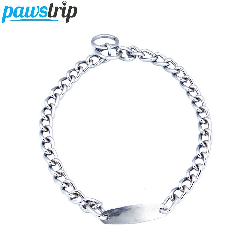 pawstrip 5 Size Strong Chain Dog Collar Name ID Engraved Puppy Collars Chihuahua Pitbull Small Large Pet Dog Collar Leads