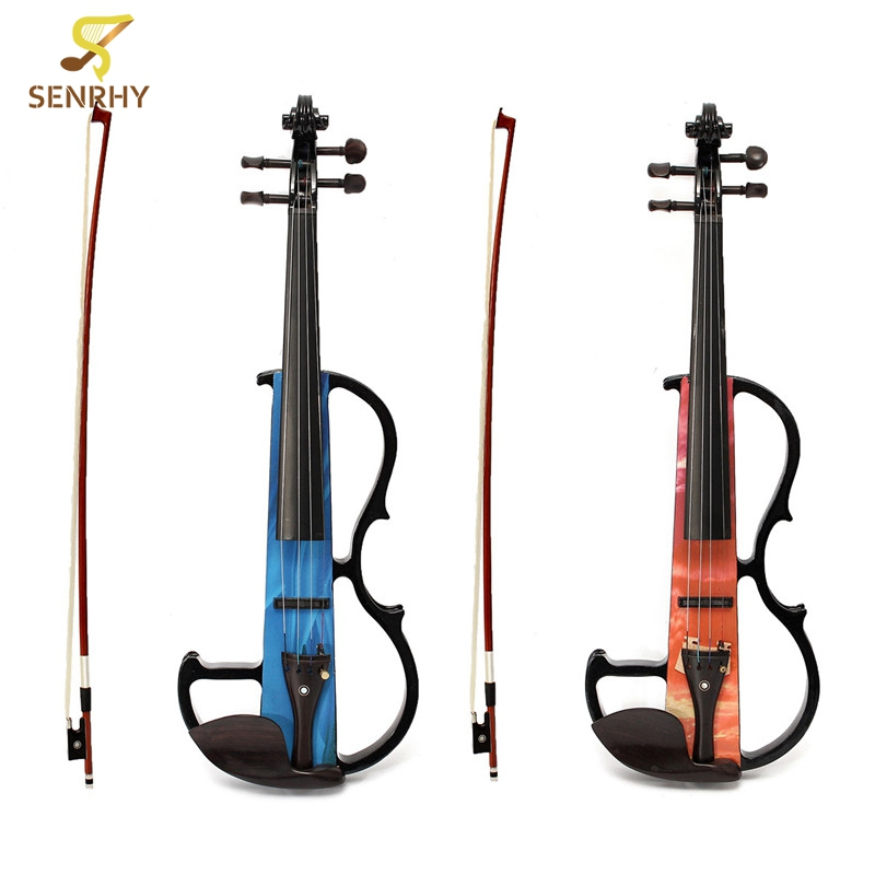 Portable Full Size 4/4 Natural Electro Acoustic Violin Fiddle with Bow Rosin String Carry Case Shoulder Rest Acoustic Violin Set beautiful blue violin 4 4 1 4 3 4 1 2 1 8 size available violin full set with bow rosin bridge case colorful violins available