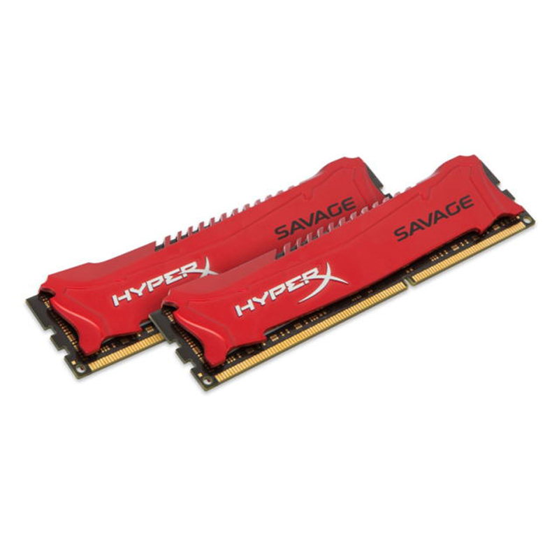 HyperX Savage 16GB 1600MHz <font><b>DDR3</b></font> Kit of 2, <font><b>16</b></font> <font><b>GB</b></font>, 2 x 8 <font><b>GB</b></font>, <font><b>DDR3</b></font>, 1600 MHz, 240-pin DIMM, Rojo image