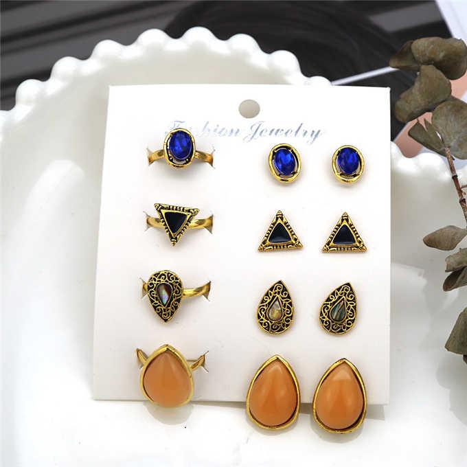 1 set earrings New fashion women's jewelry wholesale girls birthday party pearl earrings set mashup