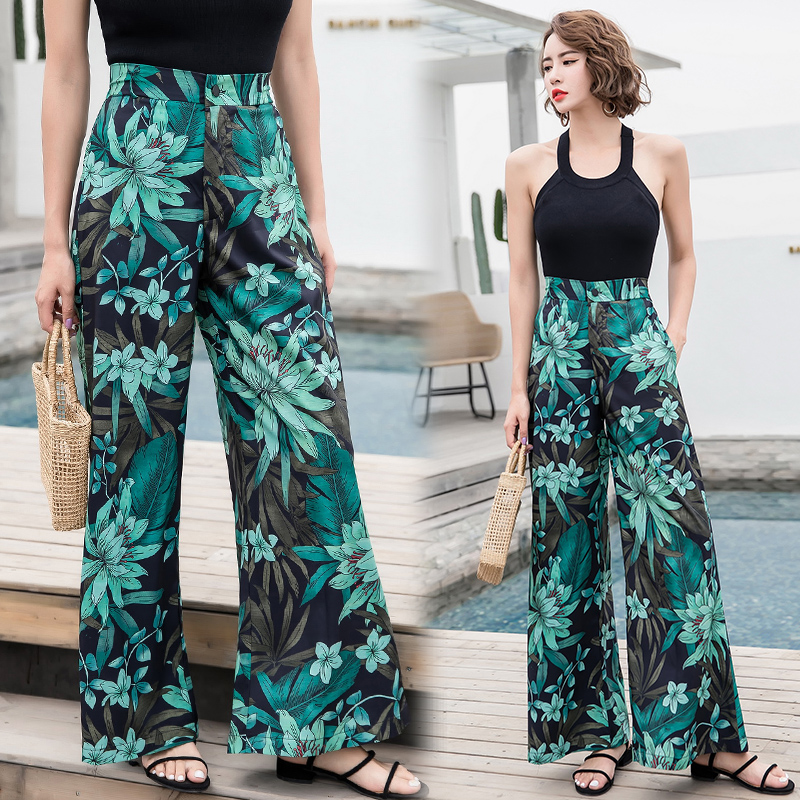 2019 Women's Summer Casual Retro Print Bohemian   Wide     Leg     Pants   High Waist   Wide     Legs   Trousers Skirts Mopping Beach Holiday   Pants