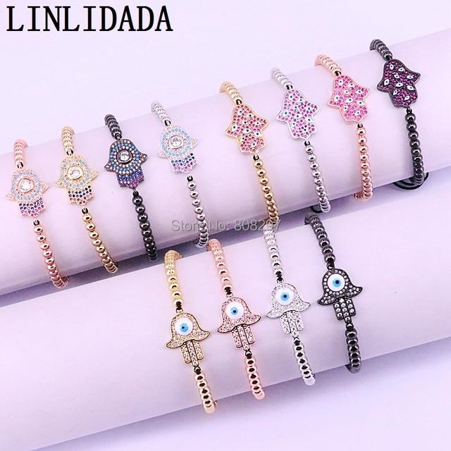 New 10Pcs Fashion Jewelry Pave Setting Crystal CZ Hand Connector & 4mm Round Bead Braiding Men Women Macrame Bracelet