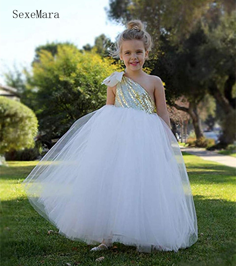 Simple Design Tulle Princess   Dress   with Sequined Top One Shulder Customized For 2-14 Years   Girls     Flower     Girl     Dress   For Wedding
