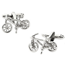 Jewelry Silver Bicycle cufflinks for mens shirts Novelty bike design brass material cufflinks high quality cufflinks brand
