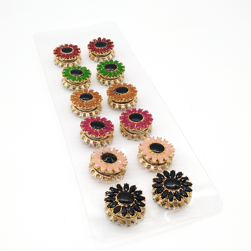 New Enamel Magnet Hijab Brooches Pins Muslim Wedding Jewelry 12PCS Magnet Brooch Pin For Women Safety Scarf Pin Mixed Color