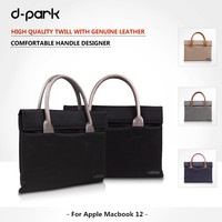 New D Park Oxford Cloth Genuine Leather Laptop Case Bags For Apple Macbook 12 Inch Handbag