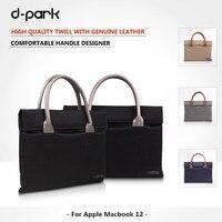 New D Park Oxford Cloth Genuine Leather Laptop Case Bags For Apple Macbook 12 Inch Handbag