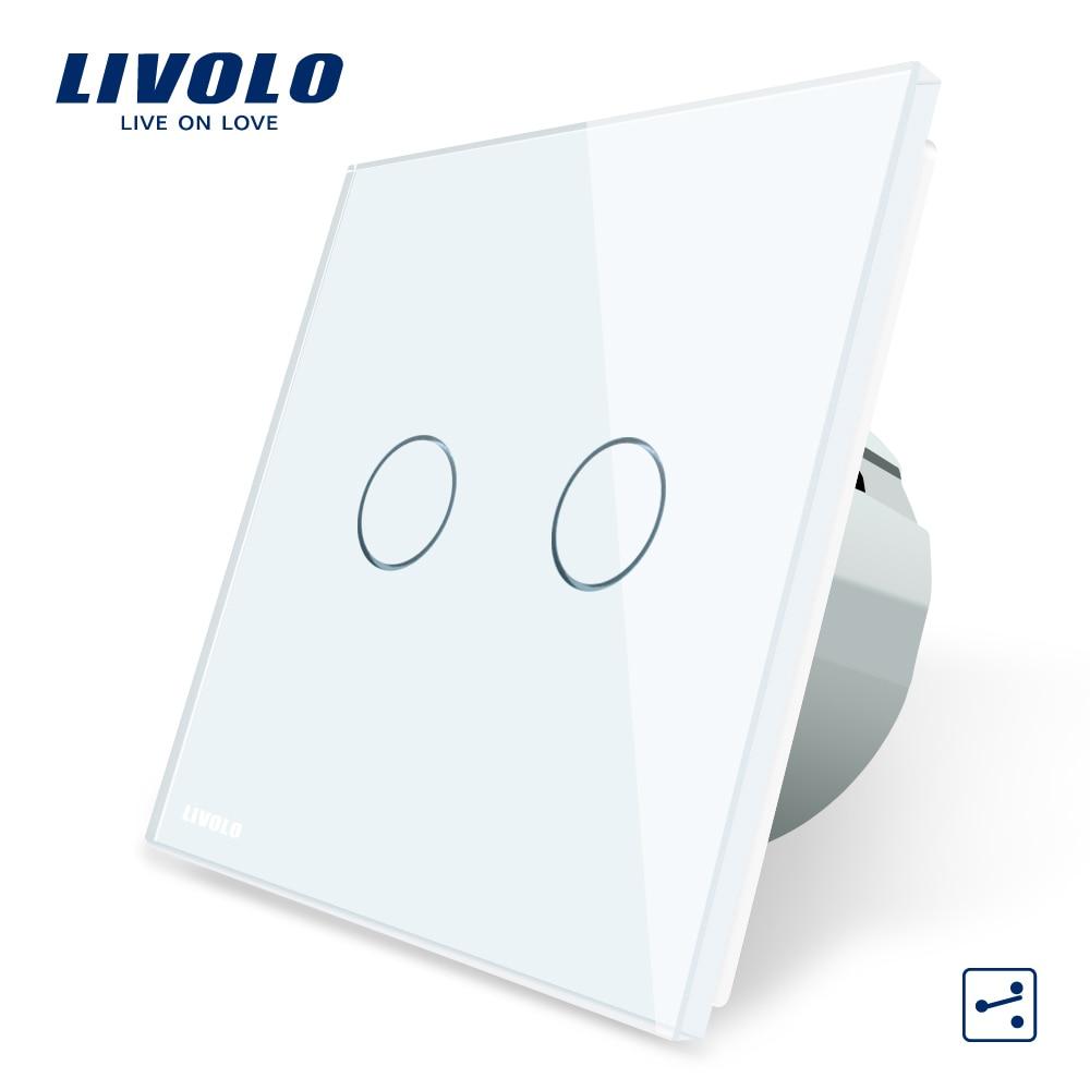 Livolo EU Standard Touch Schalter, 2 Gang 2 Way Control, 3 Farbe Kristall Glas-Panel, wand Licht Schalter, 220-250 v, C702S-1/2/3/5