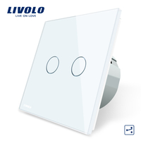 Free Shipping Livolo EU Standard Touch Switch 2 Gang 2 Way Control White Crystal Glass Panel