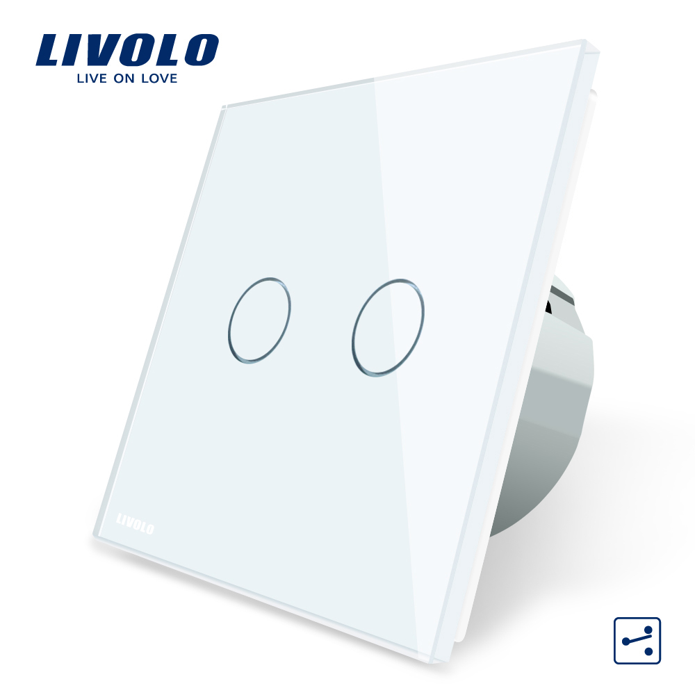 Livolo EU Standard Touch Switch, 2 Gang 2 Way Control, 3 Color Crystal Glass Panel,Wall Light Switch,220-250V,C702S-1/2/3/5 eu uk standard touch switch 3 gang 1 way crystal glass switch panel remote control wall light touch switch eu ac110v 250v
