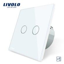 Livolo ЕС Стандартный сенсорный выключатель, 2 Gang 2 Way Управление, 3 цвета Кристалл Стекло Панель, стены выключатель света, 220-250 В, C702S-1/2/3/5
