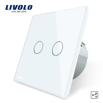 Livolo EU Standard Touch Switch, 2 Gang 2 Way Control, 3 Kleur Kristal Glazen Paneel, muur Lichtschakelaar, 220-250 V, C702S-1/2/3/5