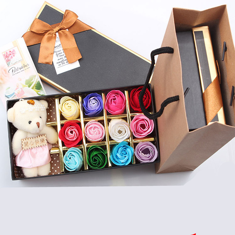 Stuffed Animals Plush Bear Doll Toy Bouquet Gift Box Wedding Ornament Romantic Personality Gift Graduation Gift for Girl Friend