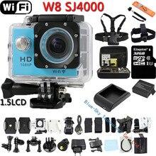 Mini Cámara Digital de Deportes de Acción SJ4000 WIFI W8 Impermeable Casco Videocámara de 170 Grados de la Lente HD Buceo Extremo de la Leva DVR