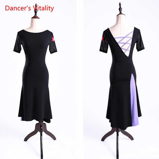 903c2306e ... New Latin Dance Dress Sexy Senior Gauze Split Latin Dance Costumes For Women  Latin Ballroom Dance