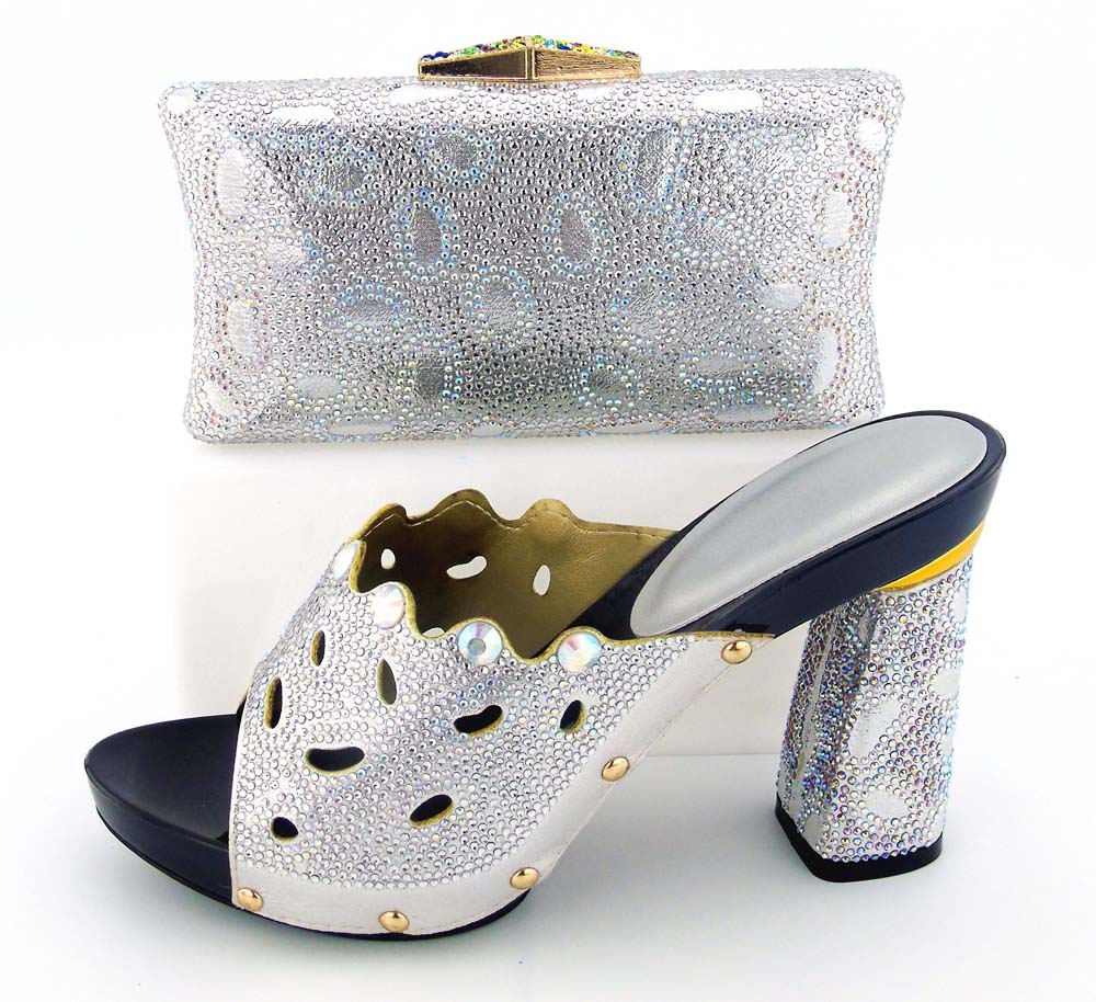 Silver shoes matching bags with many stones high heel with size 38 to 43 italian shoes and bag BCSB0034 italian shoes bag set aidocrystal luxury handmade crystal sunflower high heel women italian shoes with matching bags