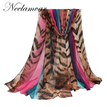 High Quality Tiger stripes  Beach Scarves Voile Soft Long Scarf Women Flowers Printed Wrap Shawl Stole striped Scarves chic skulls and stripes pattern voile pashmina for women