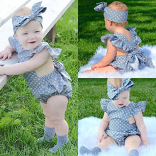 Newborn Infant Baby Girls Clothes Polka Dot Romper Jumpsuit Sunsuit Outfits Sets