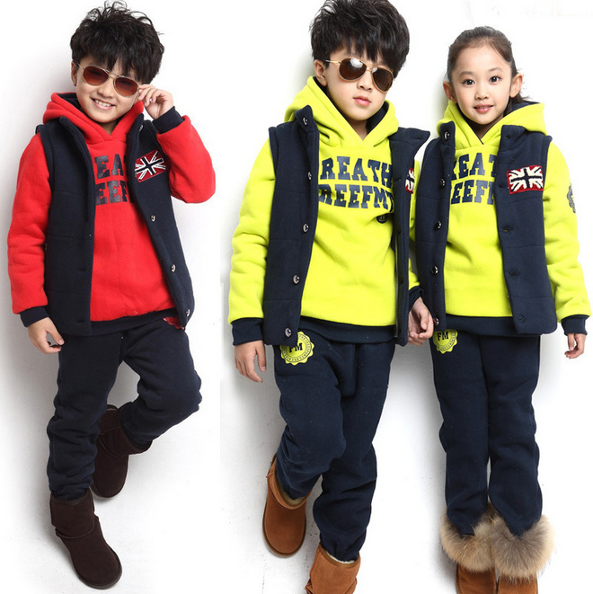New Arrival 2014 Autumn Winter Children's Kids Clothing Baby Boy/girls Sports Suit Sweater Coat & pants 3 Pcs Clothing Sets new 2014 autumn winter baby