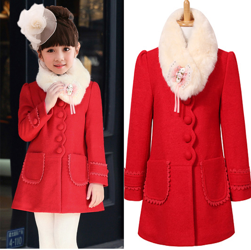 2015 Brand Design Fashion Big Girls Children Coat Girl's Wool ...