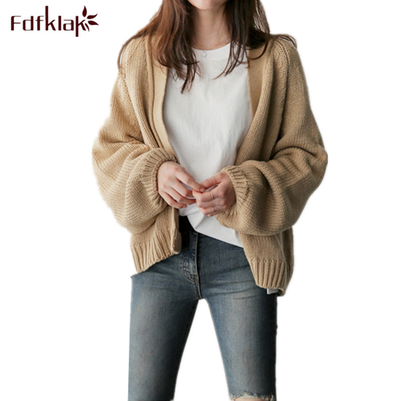 Fdfklak 2017 Spring Autumn Casual Long Sleeve Loose Knit Cardigan Ladies Winter Sweaters New Design Khaki/Navy Warm Sweater Q533