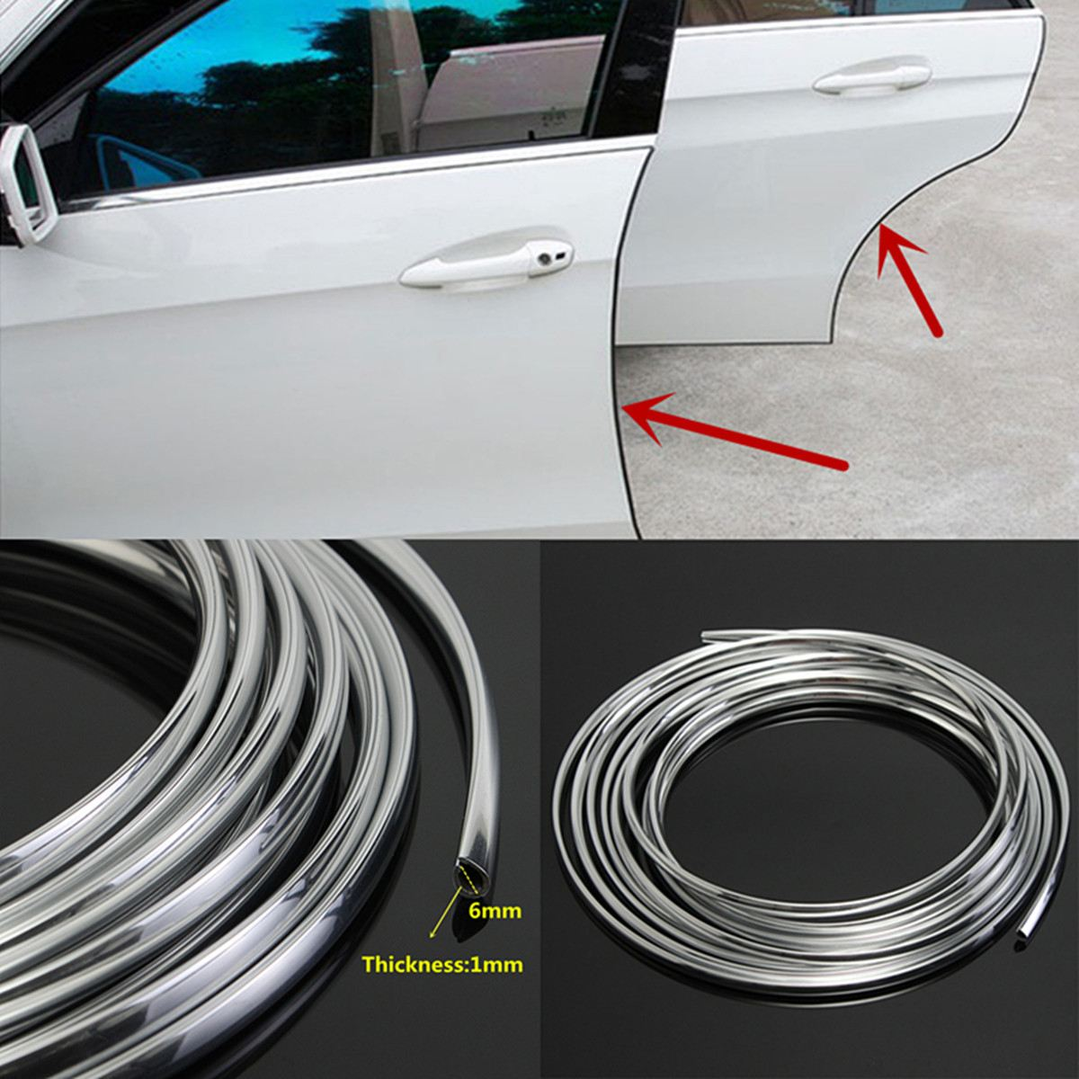16FT//5M Car Auto Door Moulding Rubber Strip Trim Guard Edge Protector Cover Gray