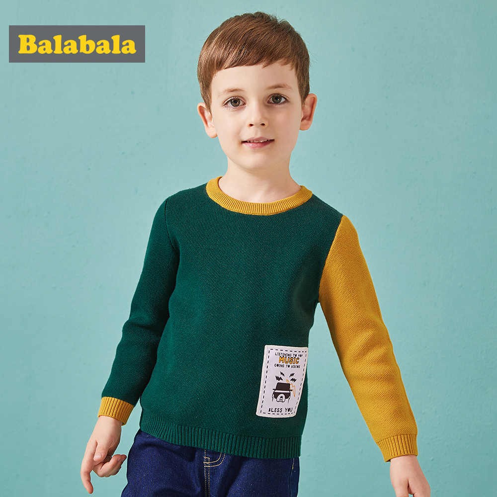 Balabala cotton panelled fashion sweater for autumn with dog and English alphabet pattern autumn's costume for toddler boys