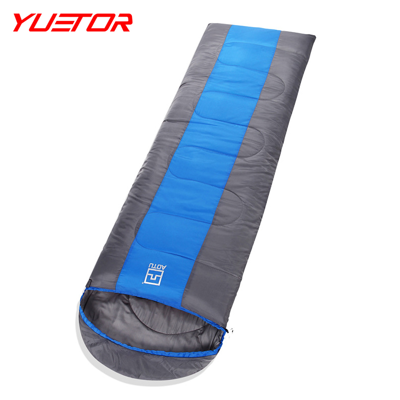 ФОТО Brand YUETOR 190T polyester pongee splice single sac de couchage outdoor thicken sleeping bags for cold weather