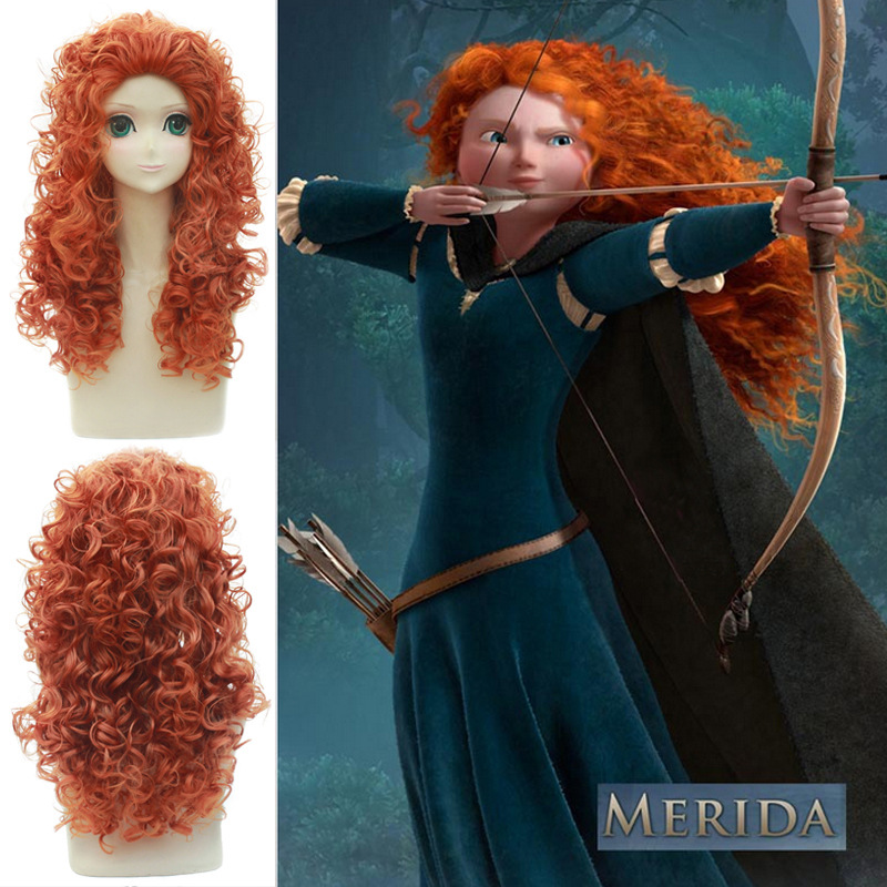 Movie Brave Long Curly Princess Merida Cosplay Synthetic Wig for Cosplay Orange Hair with hair net Costume Accessories