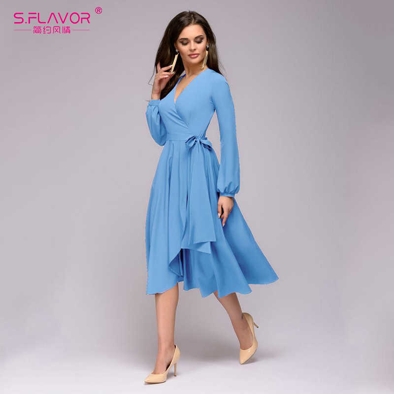 S. FLAVOR однотонное женское платье трапециевидной формы элегантное тонкое платье с v-образным вырезом и длинным рукавом для женщин винтажное платье